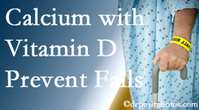 Calcium and vitamin D supplementation may be suggested to Pflugerville chiropractic patients who are at risk of falling.