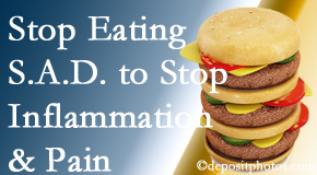 Pflugerville chiropractic patients do well to avoid the S.A.D. diet to reduce inflammation and pain.