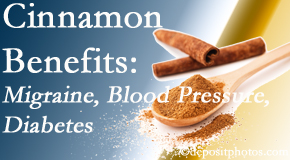 Pflugerville Wellness Center presents research on the benefits of cinnamon for migraine, diabetes and blood pressure.
