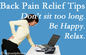Pflugerville Wellness Center reminds you to not sit too long to keep back pain at bay!