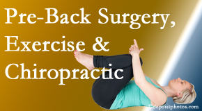 Pflugerville Wellness Center offers beneficial pre-back surgery chiropractic care and exercise to physically prepare for and possibly avoid back surgery.