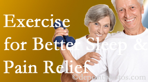 Pflugerville Wellness Center incorporates the suggestion to exercise into its treatment plans for chronic back pain sufferers as it improves sleep and pain relief.
