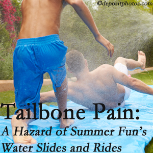 Pflugerville Wellness Center uses chiropractic manipulation to ease tailbone pain after a Pflugerville water ride or water slide injury to the coccyx.