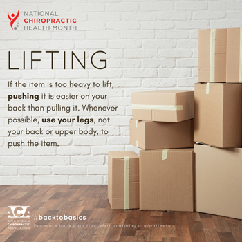 Pflugerville Wellness Center advises lifting with your legs.