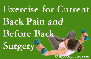 Pflugerville exercise helps patients with non-specific back pain and pre-back surgery patients though it is not often prescribed as much as opioids.